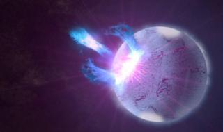 ภาพจำลองแมกนีทาร์หรือดาวนิวตรอนที่มีสนามแม่เหล็กอันแข็งแกร่ง กำลังปะทุพลังงานระดับสูงออกมาเมื่อเปลือกผิวดาวแตกออก