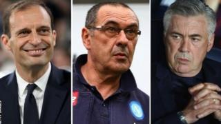 Mkufunzi wa Juventus Massimiliano Allegri, Napoli Maurizio Sarri na mkufunzi wa zamani wa Chelsea na Real Madrid Carlo Ancelotti