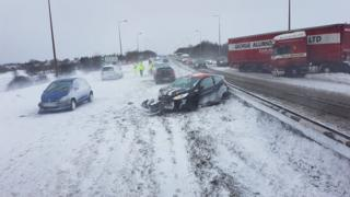 Crashed cars on A19 on Teesside, near Wingate