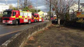 Fire crews at Pencoed station after a person was hit by a train