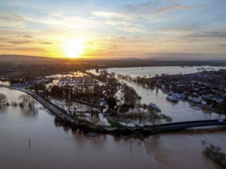 Flood water surrounds Upton upon Severn in Worcestershire