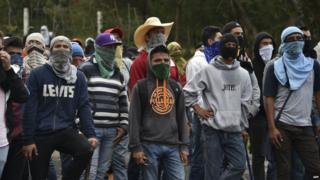 Students from Ayotzinapa ahead of clashes with riot police in Guerrero state