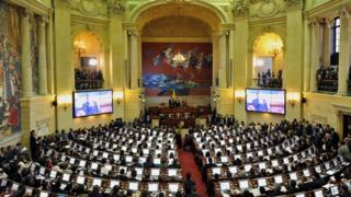 General view during the installation of the new Congress (2014-2018) at the Capitol in Bogota, Colombia, on July 20, 2014.