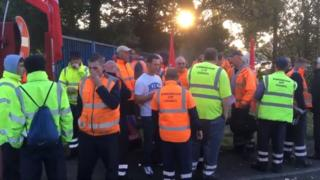 Bin workers on the picket lines