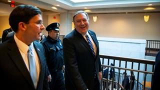 Pompeo chats with the US defence chief after Wednesday's classified Iran briefing to lawmakers
