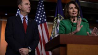 Home Intelligence Committee Chairman Adam Schiff and Speaker of the Home Nancy Pelosi (appropriate)