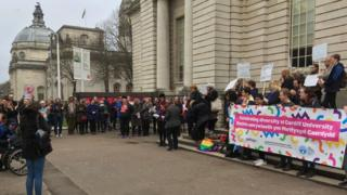 Trans rally outside City Hall in Cardiff