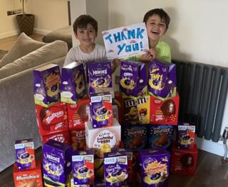 Rocco and Marco safeguard Easter eggs