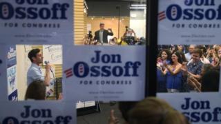 Jon Ossoff speaks to volunteers