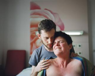 Ellen, 37, and her husband Andy, 28, during her labour at a birthing suite in Queen Elizabeth Hospital, Woolwich.