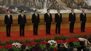 File photo: New members of the Politburo Standing Committee, from left, Zhang Gaoli, Liu Yunshan, Zhang Dejiang, Xi Jinping, Li Keqiang, Yu Zhengsheng and Wang Qishan stand in Beijing's Great Hall of the People, 15 November 2012