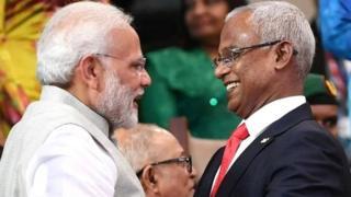 प्रधानमंत्री नरेंद्र मोदी के साथ मालदीव के राष्ट्रपति इब्राहिम मोहम्मद सोलिह