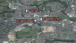 Colchester stabbings map