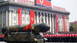 今年4月朝鮮閲兵式上展示的洲際導彈