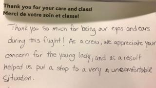 Cabin crew gave this appreciative note to journalist Joanna Chiu after she intervened on behalf of a harassed teenager