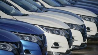 New cars wait for distribution at the Sunderland car assembly plant of Nissan on February 04, 2019 in Sunderland, England.