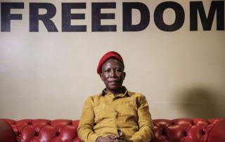 Julius Malema sits in front of a sign that says Freedom