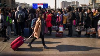 北京火车站外的旅客(23/1/2017)