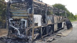 Burnt-out bus