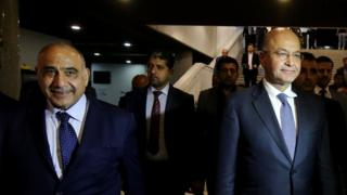 برهم صالح (راست) در کنار عادل عبدالمهدی
