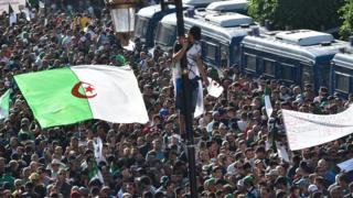 """مظاهرات ضخمة في العاصمة الجزائرية ضمن """"حراك 1 نوفمبر"""" المناهض للحكومة في الذكرى الـ65 لاندلاع حرب التحرير ضد الاحتلال الفرنسي"""
