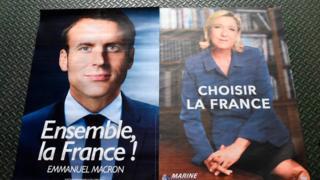 马克龙与勒庞的竞选海报