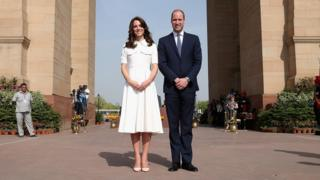The Duke and Duchess of Cambridge pose for a picture at Indian Gate Memorial in New Delhi