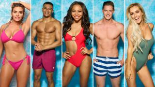 Love Island contestants Megan, Wes, Samira, Alex and Laura