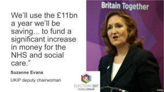 "Suzanne Evans, UKIP deputy chairwoman, ""We'll use the £11bn a year we'll be saving to fund a significant increase in money for the NHS and social care."""