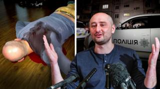 The faked murder scene, and Arcady Babchenko alive afterwards