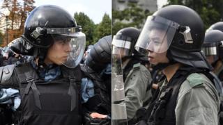 русский и гонконгский полицейские