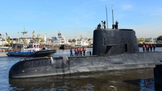 Handout picture and released by the Argentine Navy showing submarine ARA San Juan docked in Buenos Aires, 18 November 2014
