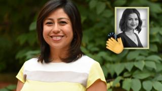 Cristina Jiménez smiles next to an inset image of Selena Gomez, and emoji of clapping hands.