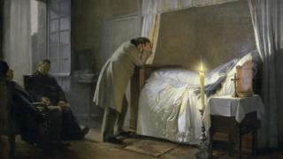M. Bovary llora la muerte de su esposa, pintado por Albert Auguste Fourie.