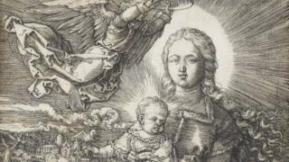 """This undated handout made available by Staatsgalerie Stuttgart shows the copperplate print """"Maria, crowned by an angel"""""""