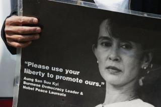 A protestor demonstrate against Aung San Suu Kyi's detention in June 2003