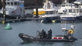 A Border Force RIB on patrol in Dover Harbour