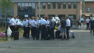 Prison officers outside HMP Berwyn on Monday