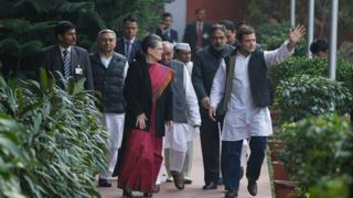 Sonia and Rahul Gandhi arrive at party headquarters after court appearance in Delhi, 19 Dec