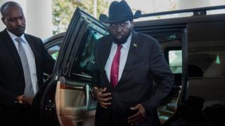 South Sudan President, Salva Kiir arrives at Uganda's statehouse in Entebbe on 7 July 2018