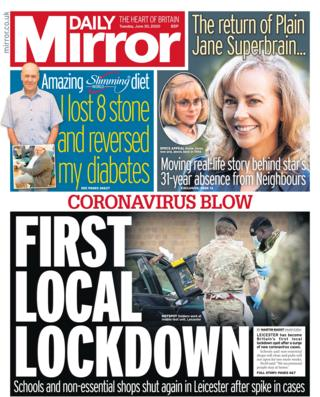 Daily Mirror front page 30.06.20
