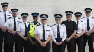 Police officers wearing new gender neutral hats