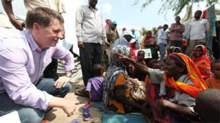 Justin Forsyth at a displacement camp in Somalia