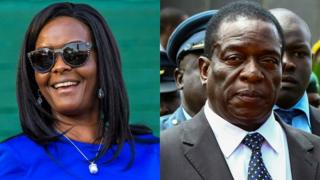 File images of Grace Mugabe and Emmerson Mnangagwa