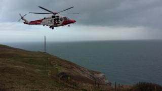 Swanage Coastguard helicopter at the scene