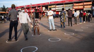 People observing social distancing in Rwanda