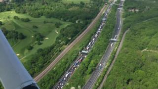 Aerial photo of the M25 traffic