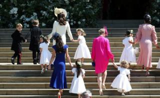 "The Duchess of Cambridge arrives with the bridesmaids at St George""s Chapel at Windsor Castle"