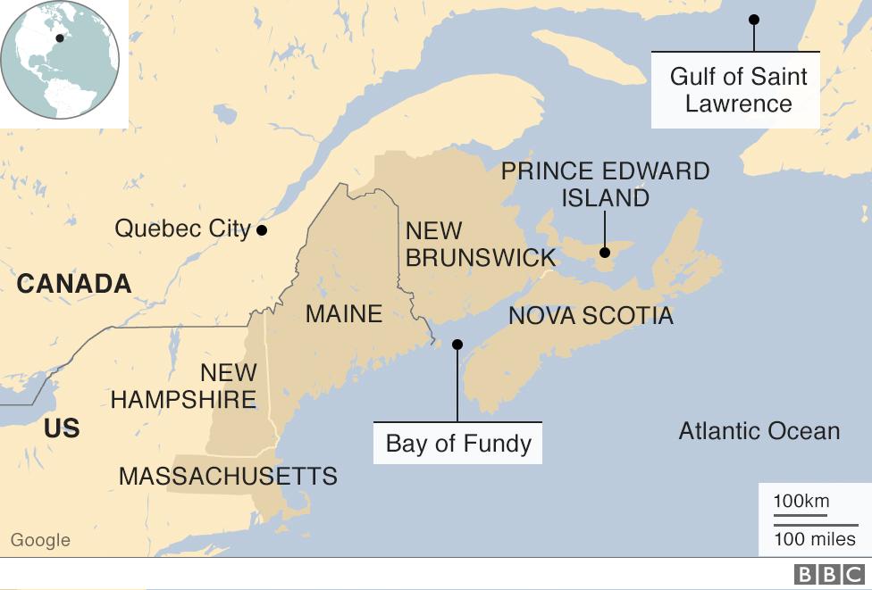 Map of Canada's Atlantic coast