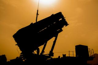 """A US Patriot missile defence system is pictured during the Israeli-US military exercise """"Juniper Cobra"""""""